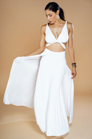 Serena Suede Maxi Dress - White - WantMyLook
