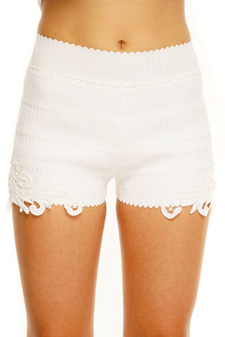 Chantel Bandage Lace Shorts - White - WantMyLook