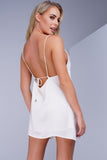 Sola Sateen Mini Dress - Ivory - WantMyLook