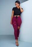 Sway Distressed Denim Jeans - Burgundy - WantMyLook