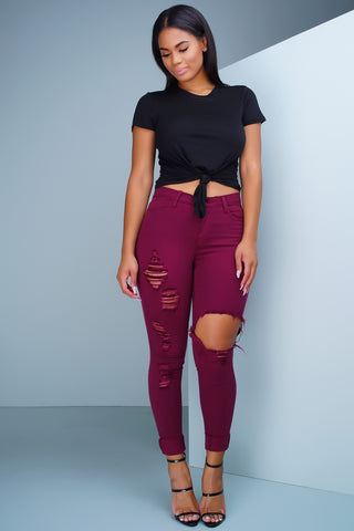 Sway Distressed Denim Jeans - Burgundy