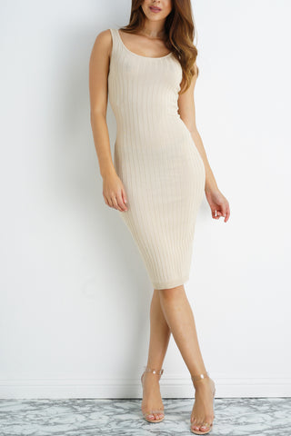 Minimalistic Knit Bodycon Dress - Taupe