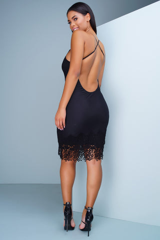 Ariana Crochet Dress - Black - WantMyLook