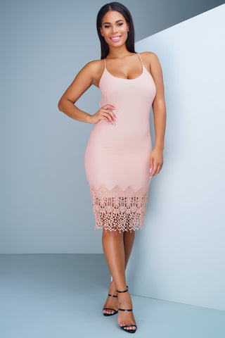 Ariana Crochet Dress - Pink