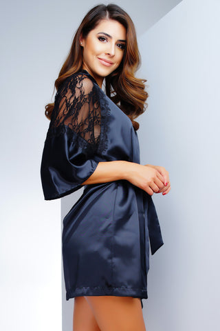ARIKA SATO Lux Satin Robe - Black Lace - WantMyLook