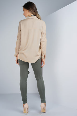 Andrea Button Blouse - Tan - WantMyLook