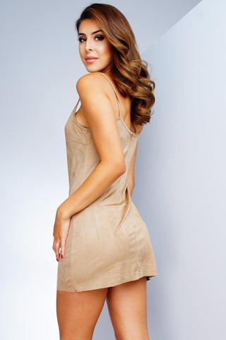 Classic Suede Mini Dress - Tan