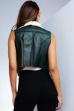 Tori Faux Leather Vest - Olive - WantMyLook
