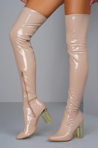 Farah Patent Over The Knee Boots - Nude