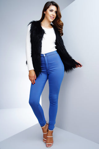 Frida Faux Fur Vest - Black - WantMyLook