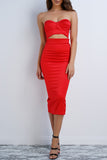 Ari Sweetheart Dress - Red - WantMyLook