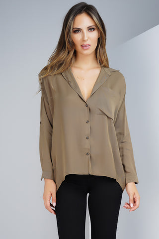 Andrea Button Blouse - Olive
