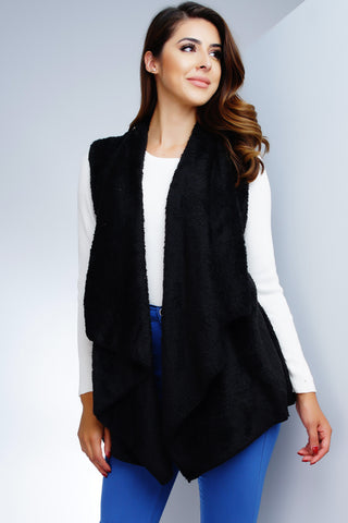 Roselle Faux Fur Plush Vest - Black - WantMyLook