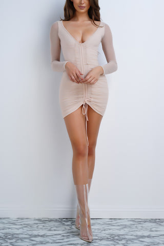 Emmi Mesh Dress - Taupe - WantMyLook