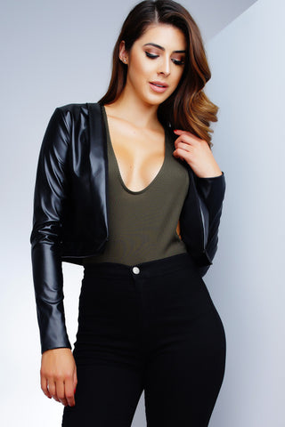 Corina Cropped Jacket - Black