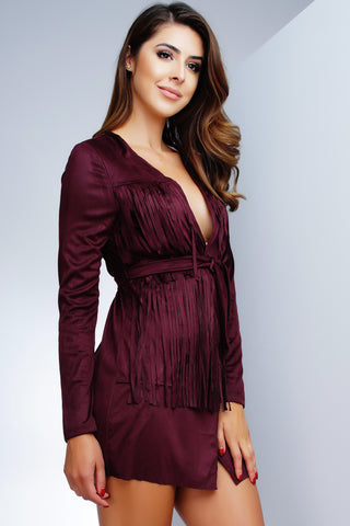 Sis Suede Fringe Mini Dress - Wine - WantMyLook