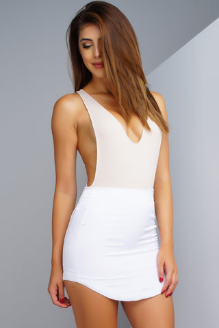 Sleek & Silk Mini Skirt - Ivory - WantMyLook