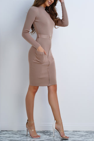 Mable Knit Buckle Dress - Mocha - WantMyLook