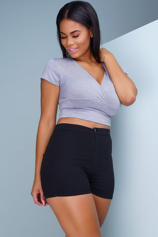 Aphrodite High Rise Round Shorts - Black