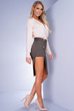 Banks Button Skirt - Olive - WantMyLook