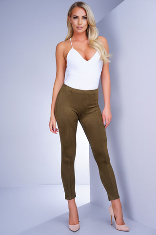 Addison Suede Leggings - Olive