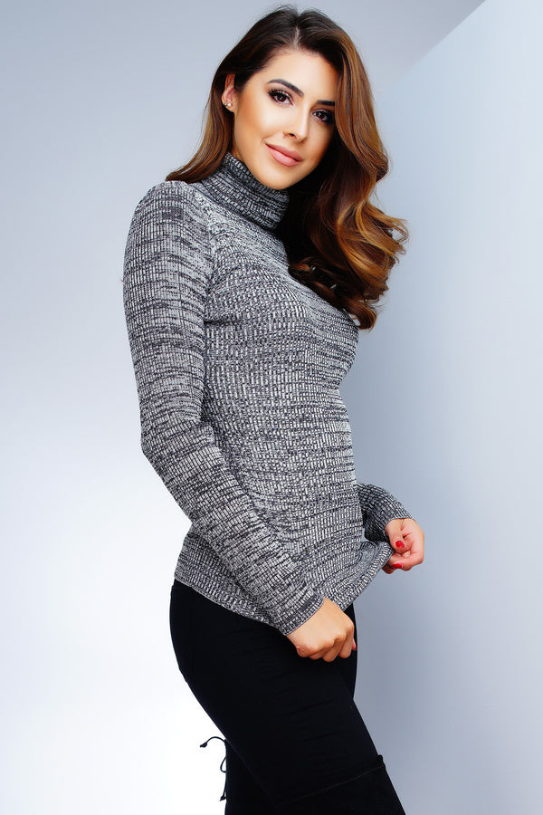 Tatiana Turtleneck Top - Grey - WantMyLook