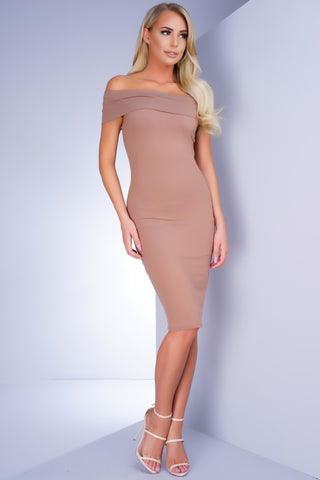 Arielle Off The Shoulder Midi Dress - Mocha