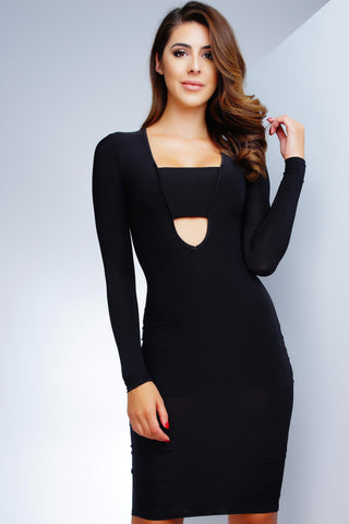 Nyla Midi Dress - Black - WantMyLook