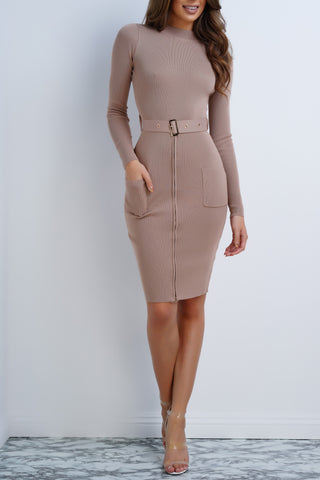 Mable Knit Buckle Dress - Mocha