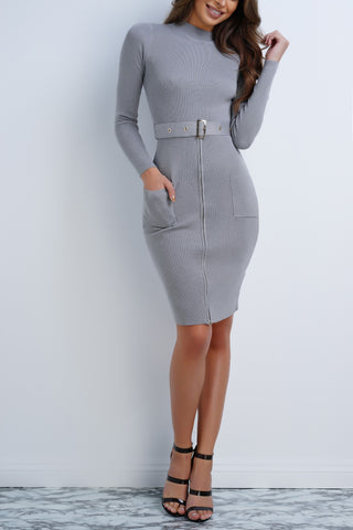 Mable Knit Buckle Dress - Grey - WantMyLook