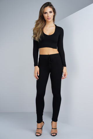 Janie Ribbed Knit Cropped Jogger Set - Black