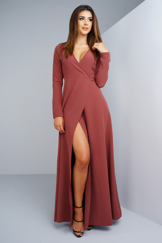 Yasmin Wrap Dress - Marsala