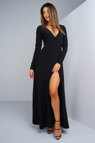 Yasmin Wrap Dress - Black