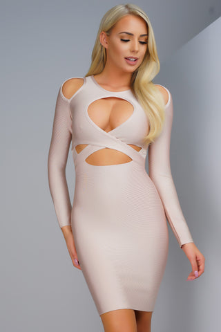 Jude Bandage Dress - Nude