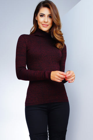 Tatiana Turtleneck Top - Red