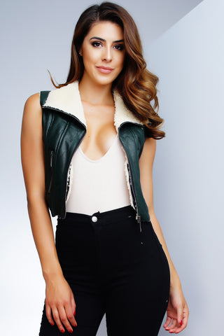 Tori Faux Leather Vest - Olive
