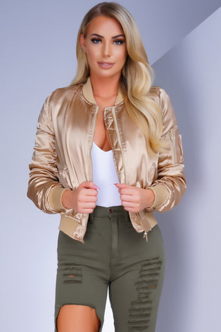 Celestial Satin Bomber Jacket - Gold