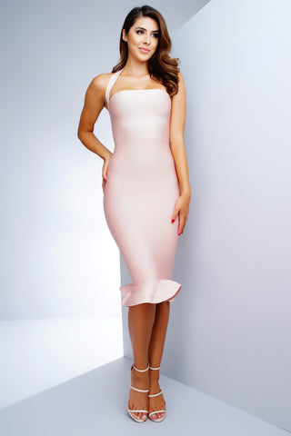 Theresa Mermaid Bandage Dress - Blush - WantMyLook