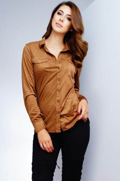 Vivica Suede Blouse - Tobacco - WantMyLook