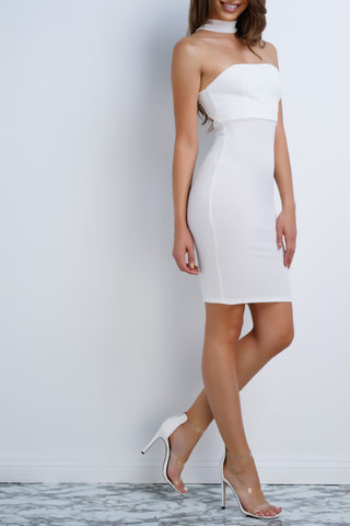 Irena Choker Mini Dress - White - WantMyLook