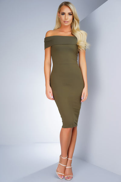 Arielle Off The Shoulder Midi Dress - Olive - WantMyLook