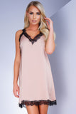 North Lace Trim Satin Slip - Pink - WantMyLook