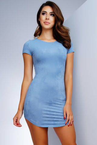 Claudia Suede T-Shirt Dress - Blue