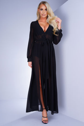 Heartbreaker Sheer Maxi Dress - Black
