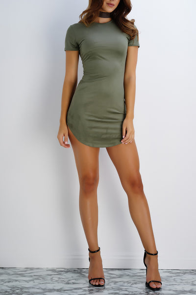 Claudia Suede T-Shirt Dress - Olive