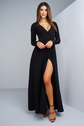 Yasmin Wrap Dress - Black - WantMyLook