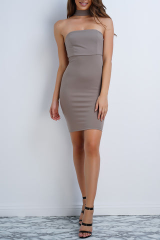 Irena Choker Mini Dress - Taupe - WantMyLook