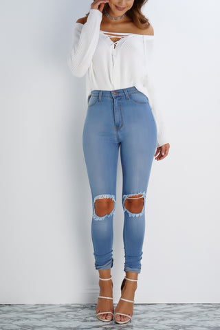Glisten High Waist Destroyed Denim Jeans - Light Blue