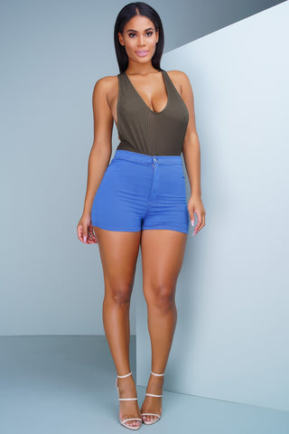 Aphrodite High Rise Round Shorts - Medium Wash - WantMyLook