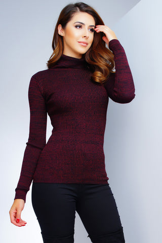 Tatiana Turtleneck Top - Red - WantMyLook